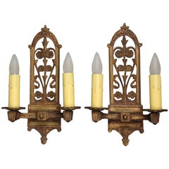 1920s Pair of Double Light Sconces