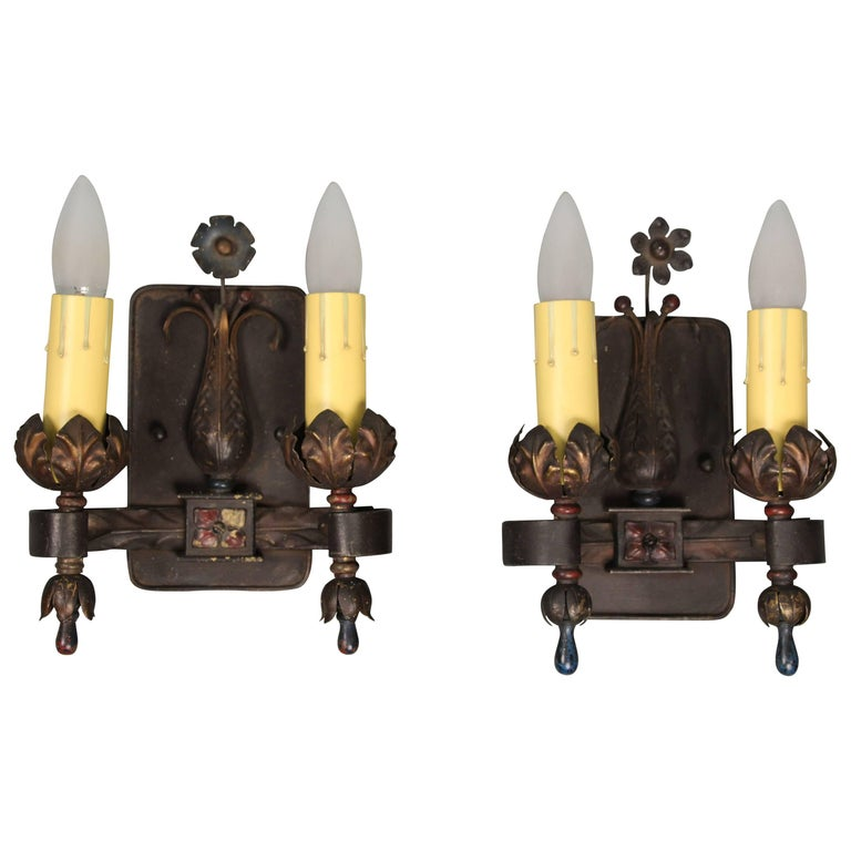 Striking Pair of Double Sconces, circa 1920s For Sale