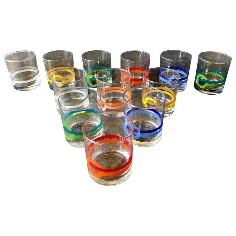 """Rare Set of 12 Pierre Cardin Modern Cocktail Glasses, """"On The Rocks"""", 1980s"""