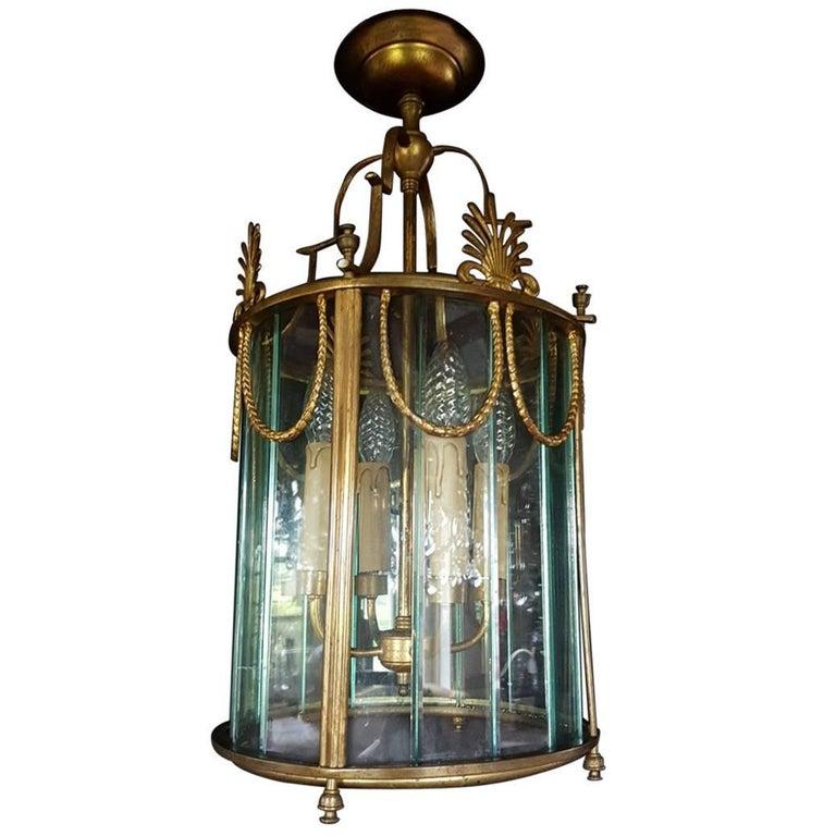 Regency French Multi Panel Gilt Bronze Four-Light Lantern