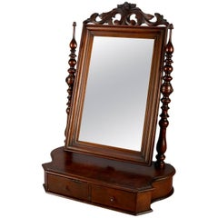 Antique William and Mary School Carved Mahogany Two-Drawer Shaving Mirror