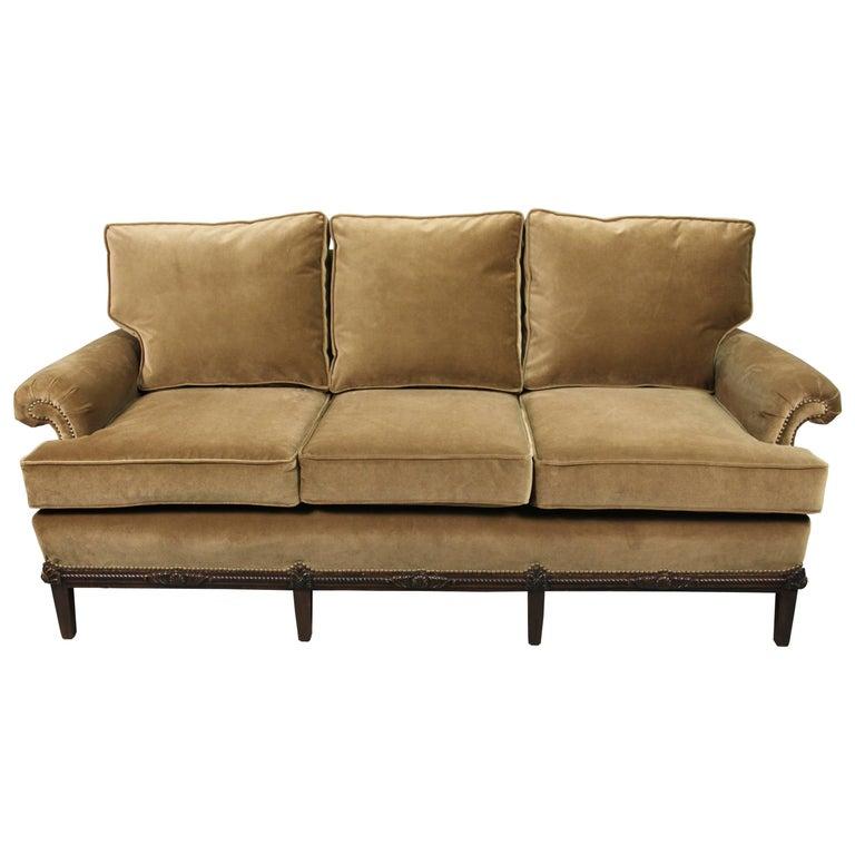 Sofa with New Velvet Upholstery, circa 1920s
