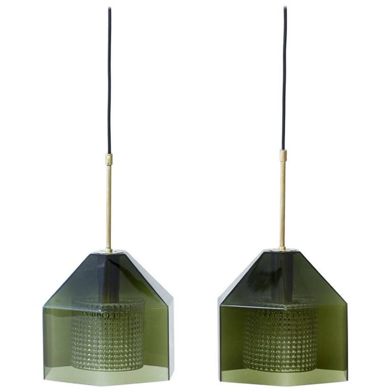 Pair of Glass Pendants by Carl Fagerlund for Orrefors, Sweden, 1960s