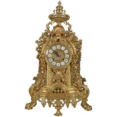 French Louis XIV Style Gilt Mantel Clock by German FHS Hermle, 20th Century