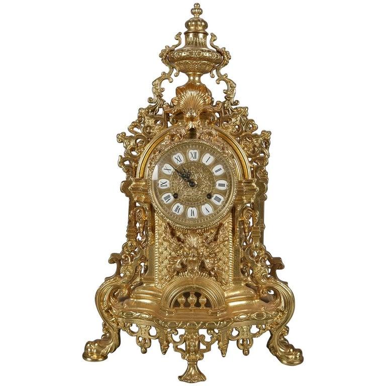 French Louis Xiv Style Gilt Mantel Clock By German Fhs