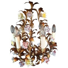 Italian Floral Chandelier, Gilt Iron with Porcelain Flowers, 1940