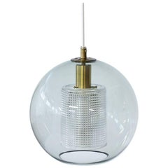 Round Glass and Brass Pendant Lamp by Carl Fagerlund for Orrefors, Sweden, 1960s