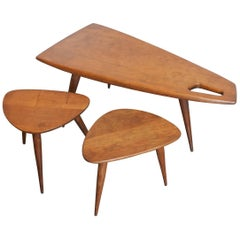 Pierre Cruège Set of One Coffee and Two Side Tables, Solid Oak, France 1950s