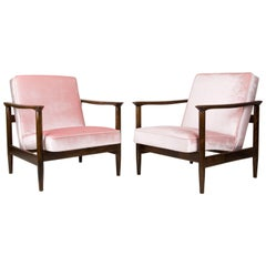Pair of Baby Pink Velvet Armchairs, Designed by Edmund Homa, 1960s