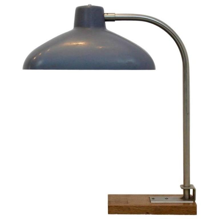Premium Extra Large Desk Lamp in Steel, Bakelite and Oakwood, 1950s Belgium
