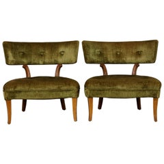 Pair of Hollywood Regency Slipper Chairs Style of Lorin Jackson for Grosfeld Hou