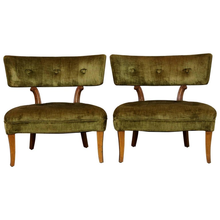 Pair Hollywood Regency Slipper Chairs Style of Lorin Jackson for Grosfeld House