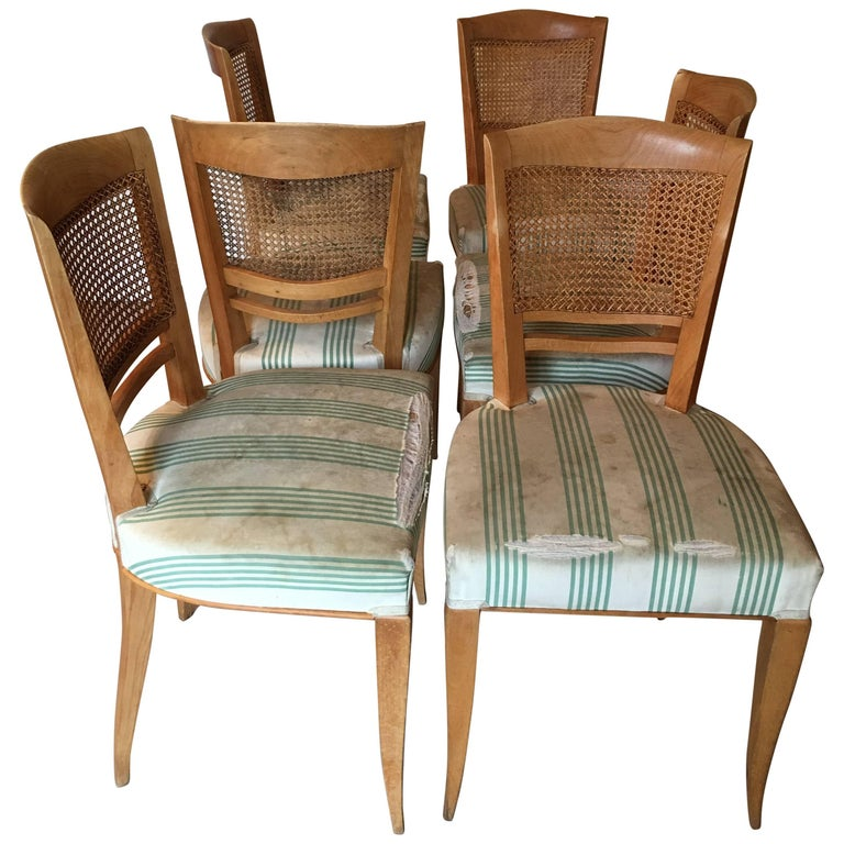 Baptistin Spade Set of Six Caned Back Sycamore Chairs, 1950s French, Documented