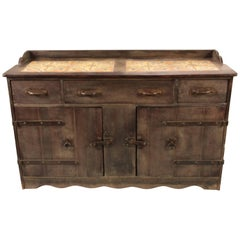 Spanish Revival California Rare Old Wood Monterey Sideboard with 12 Tile Top