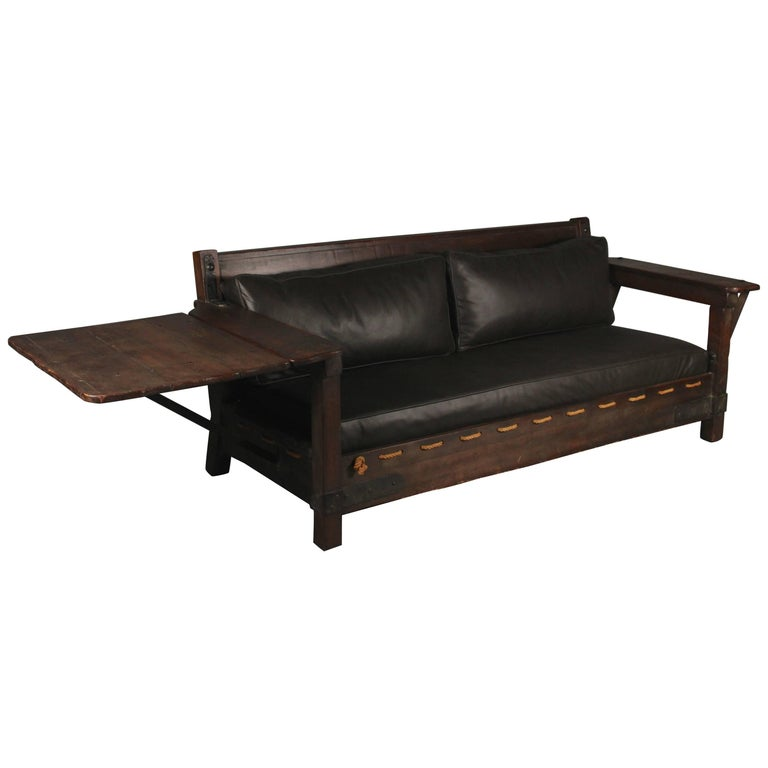 Spanish Revival California Signed Monterey Drop-Arm Sofa in Old Wood Finish