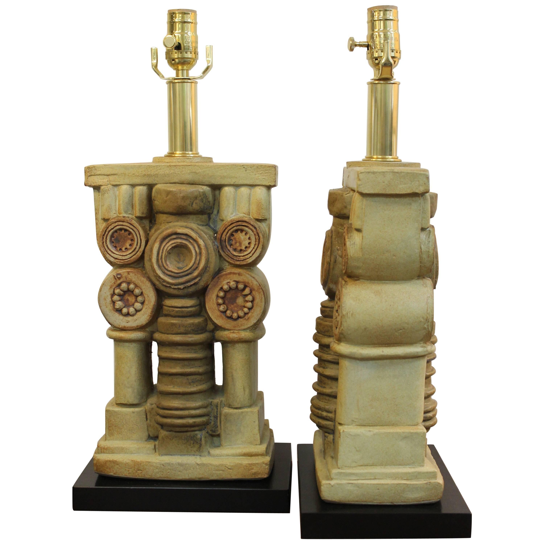 Pair of Bernard Rooke Ceramic Lamps