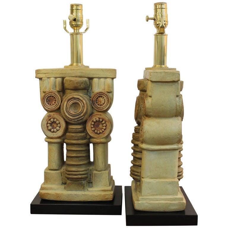 Pair of Bernard Rooke Ceramic Lamps For Sale