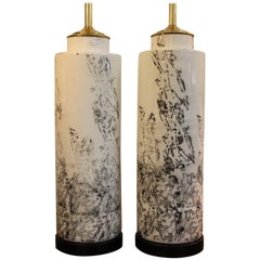 Pair of Abstract Asian Inspired Ceramic Lamps