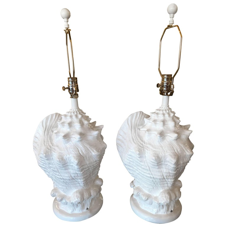 Pair of Seashell Shell Plaster White Lacquered Table Lamps Chrome Hardware