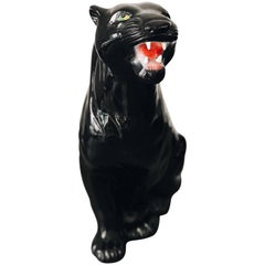 Medium Black Panther Ceramic Sculpture, Italy, 1960s