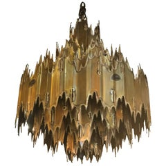 Tom Greene for Feldman Brutalist Torch Cut Chandelier Seven-Tier Metal