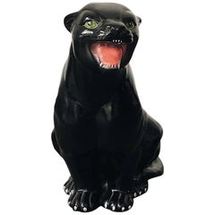 Small Black Panther Ceramic Sculpture, Italy, 1960s.