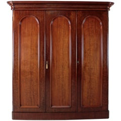 Antique 19th Century Victorian Mahogany Three-Door Fitted Wardrobe, circa 1870