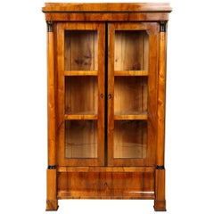 Biedermeier Walnut Vitrine Bookcase, circa 1840