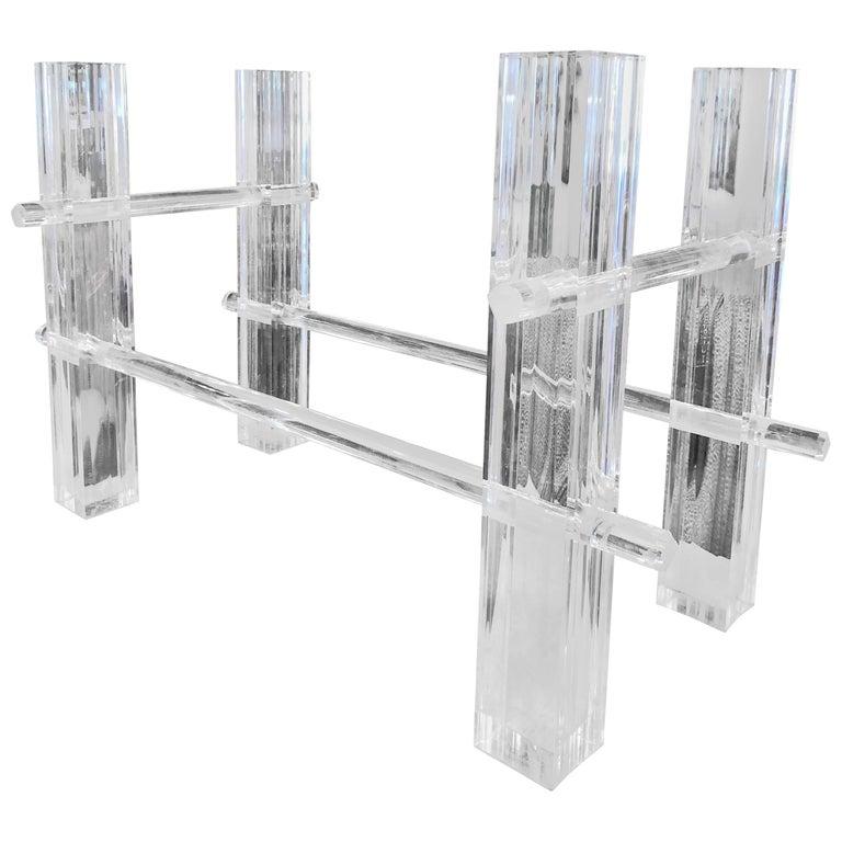 Vintage Lucite Dining Table or Desk Base, Adjustable Column Architectural