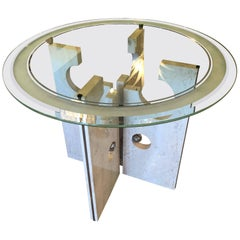 Vintage Modern Marble and Chrome Dining Table or Center Table