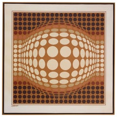 Letterman Oil on Canvas Geometric Op Art