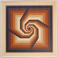 Oil on Canvas Geometric Op Art by Letterman