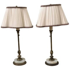 Pair of Hollywood Regency Marble Base Table Lamps