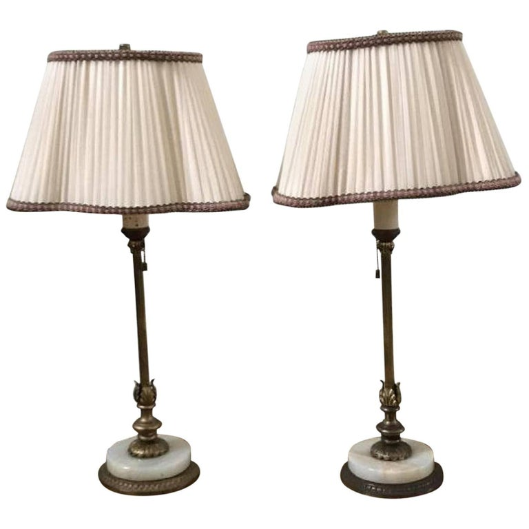 Pair Of Hollywood Regency Marble Base Table Lamps For Sale At 1stdibs