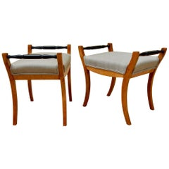 Pair of Swedish Biedermeier Revival Footstools in Golden Birch, circa 1910