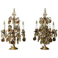 Pair of Louis XV Bronze & Crystal Four-Light Candelabra, France, circa 1910