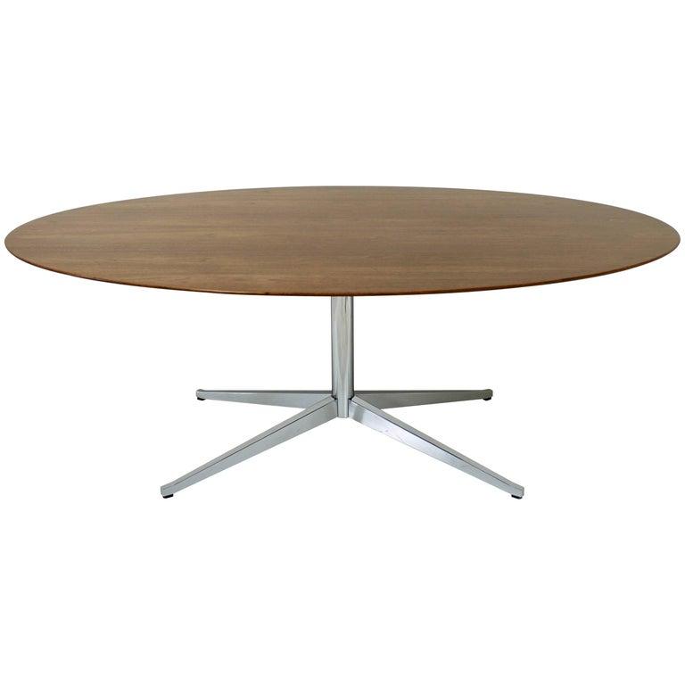Vintage Florence Knoll Oval Table Desk or Dining in Walnut Polished Steel X Base