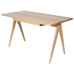 Crest Desk by Tretiak Works, Cerused White Oak Handmade Contemporary Basic Desk