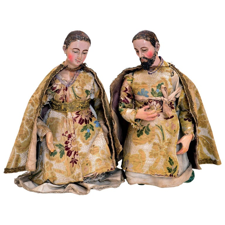 Late 18th Century Pair of Spanish Colonial Carved Wood Nativity Figures