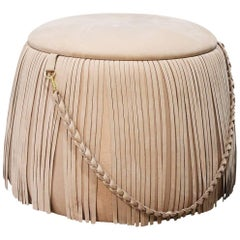 Mumu Pouf, Round Velvet Ottoman with Leather Handle and Fringe Trim