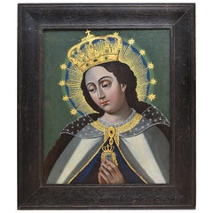 Early 19th Century Spanish Colonial Oil Painting of Our Lady of Mercy