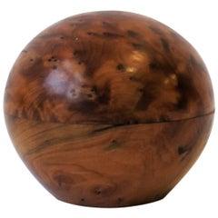 Round Burl Wood Trinket or Jewelry Box