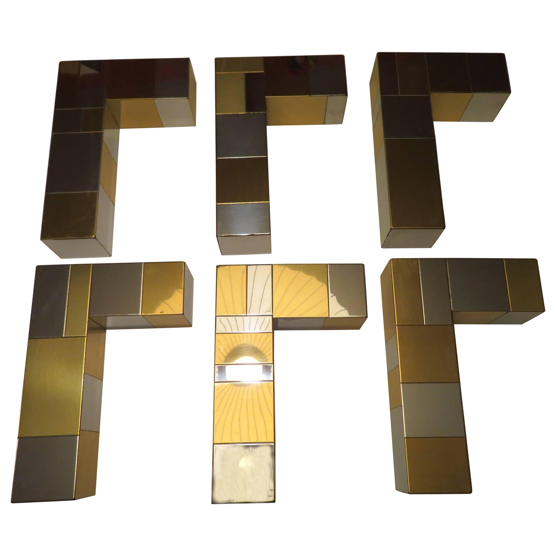 Set Paul Evans for Directional Chrome Brass Cityscape Shelf Brackets Console