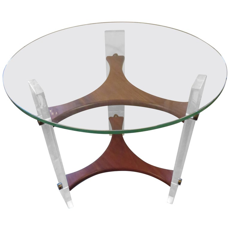 Lovely Vladimir Kagan Style Walnut Lucite Side End Table Mid-Century Modern