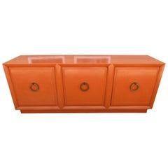Wonderful Hermes Orange T.H. Robsjohn Gibbings Widdicomb Credenza Midcentury