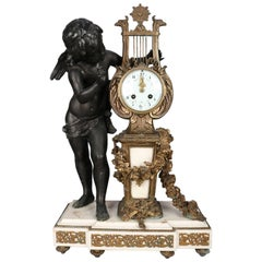 Antique French Figural Cherub Sculpture Bronzed and Marble Mantel Clock