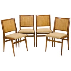 Early Set of Four Jens Risom Dining Chairs with Caned Backs