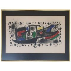 "Mid-century Modern, ""Star Scene,"" after Miró, framed and matted"