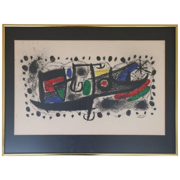 """Mid-century Modern, """"Star Scene,"""" after Miró, framed and matted"""