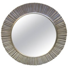 Large Mid-Century Modern Hand Carved and Silver Leaf Soleil /Sunburst Mirror
